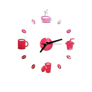 2019 Coffee Cups Kitchen Wall Art Mirror Clock Modern Design Home Decoration Decor Wall Sticker For Living Room Wholesale 325W(China)