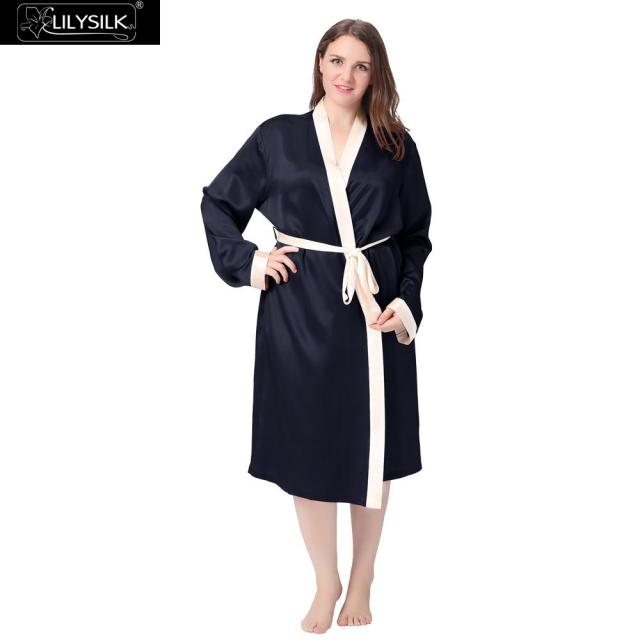 Lilysilk Sleepwear Silk Robe Women Dressing Gown Plus Size Long Bride  Wedding Bathrobe Female 22 Momme 09a24f59c