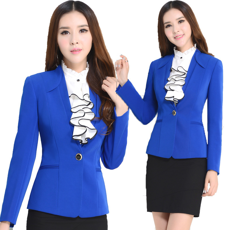 Female blazer shirt skirt office uniform designs 2015 for Office uniform design 2015