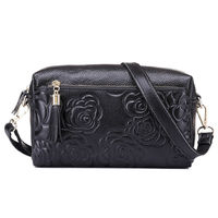New Women Pattern Evening Bag Genuine Cow Leather Embossing Wristlet Coin Purse Bags Shoulder Messenger Makeup