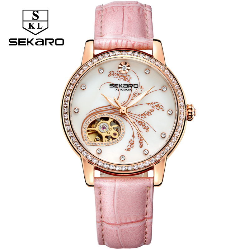 Mulheres Diamantes de Luxo de Couro SEKARO Moda relógio Mecânico Qualidade Superior Padrão de Flor de Lavanda Relógio das Mulheres Relógio de Pulso Presente