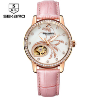 SEKARO Fashion watch Mechanical Womens Diamonds Leather Luxury Top Quality Flower Lavender Pattern Watch Women's Wristwatch Gift