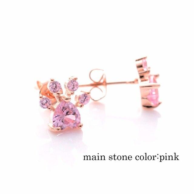 Shiny Pink Stud Earrings Dog Paw  My Pet World Store
