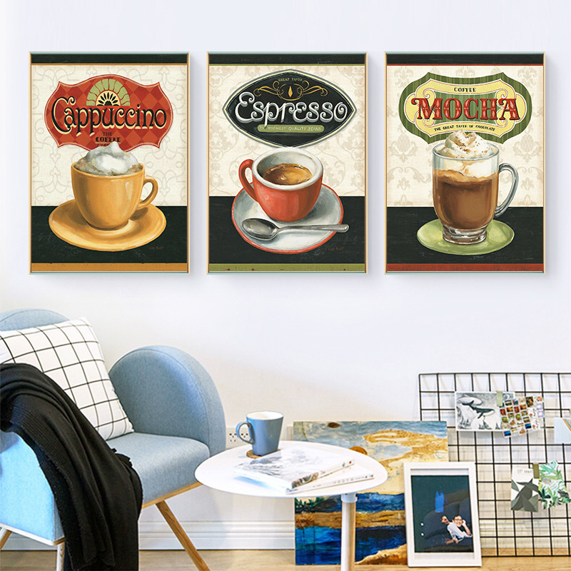 Set Of 3 Coffee Cup Canvas Wraps: Retro Coffee Cups Art Canvas Painting Prints Posters Wall