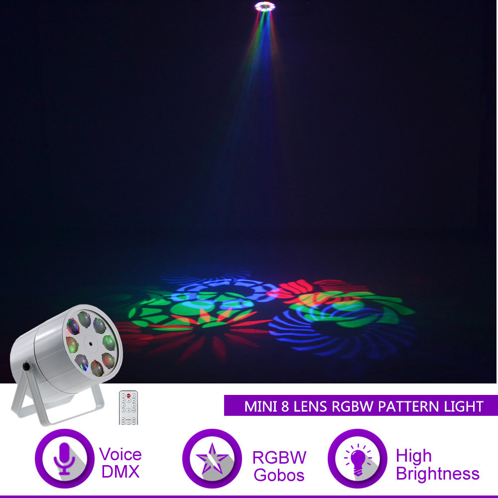 Sharelife Mini 8 Lens RGBW Patterns LED Rotate DMX Sound for Club Bar DJ Light Home Gig Party KTV Show Stage Lighting Effect M8Y|Stage Lighting Effect| |  - title=