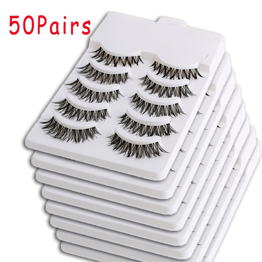 50Pairs Black Natural Long False Eyelashes Handmade Makeup Eye Lashes Extension Beauty Cross False Eyelashes Wholesale&Dropship
