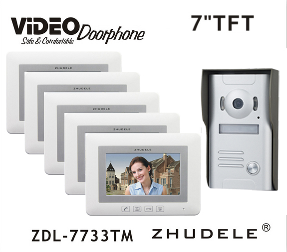 ZHUDELE New Arrival 7 LCD monitor Speakerphone Home Intercom System Color Video Door Phone doorbell support CCTV Camera 1V5
