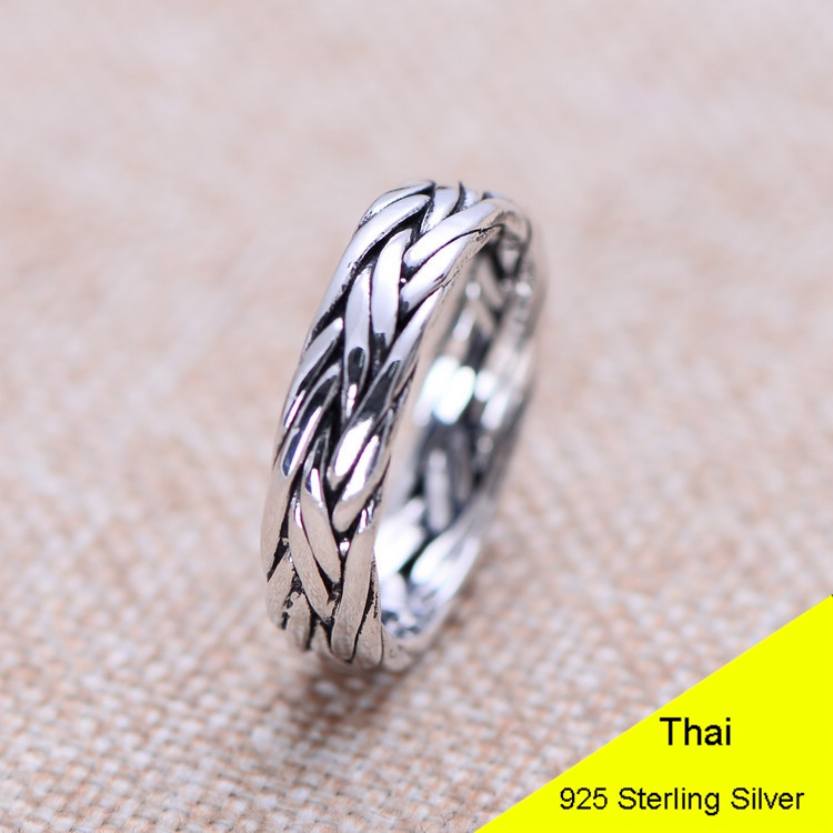 925 Sterling Silver Retro Men Male Ring Thai Silver Fine Jewelry Gift Lover Waving Finger Ring CH024093 100% genuine 925 sterling silver retro men male ring thai silver fine jewelry gift snake cross heavy finger ring ch057436