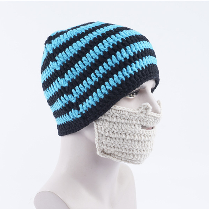 Novelty Knitted Beanie Hat With Detachable Beard Funny Face Mask