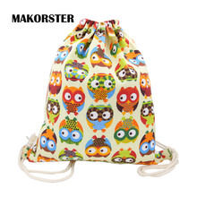 MAKORSTER summer Cotton Fabric backpack beach drawstring bag String 20-35 Litre Fashion teenage girls Backpacks for Women DJ0114