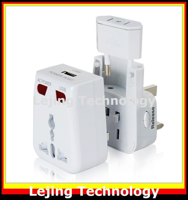 High Quality World Travel Adapter with USB Charging Port + Surge Protection