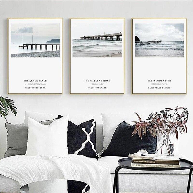 Современная Nordic очаровательная красивая Морской берег деревянный Пирс мост Sky облака обои холст картины печати украшения комнаты