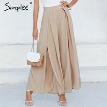 Simplee Elegant women summer pants Wide leg