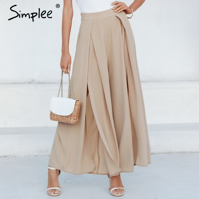 Simplee nữ mùa hè quần ống rộng co giãn cao cấp chia quần Áo dạo phố thời trang nữ Palazzo quần