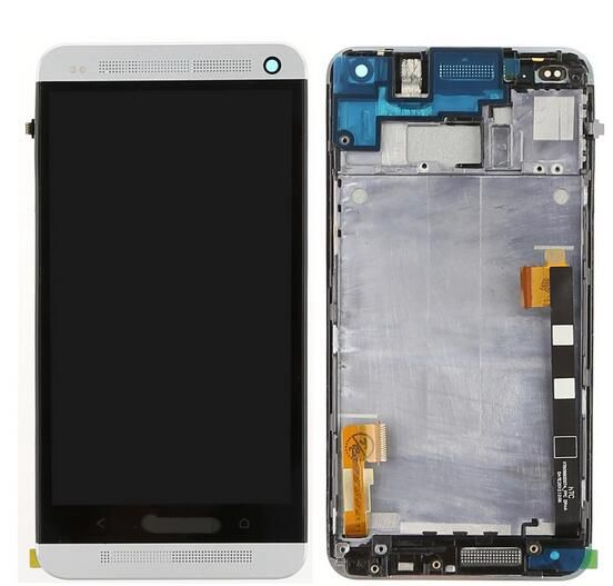ФОТО Lcd Display+Touch Digitizer Glass Screen+black/silver color front frame for Htc one m7 810e assembly Single sim version