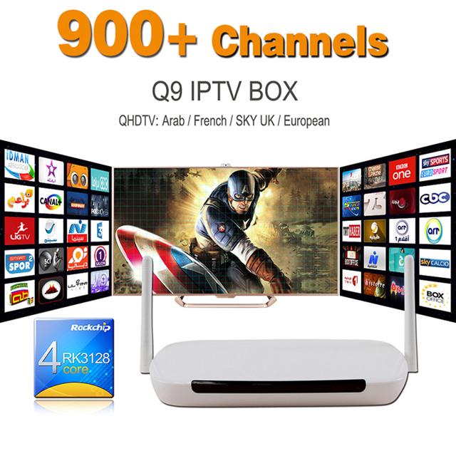2016 Mejor Árabe IPTV Caja del Androide 4.4 TV Box 1G/8G con 900 + Francés Holanda Turco Cielo Español Portugal Canales y VOD películas