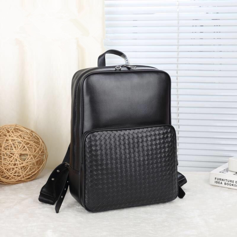 Kaisiludi Leather Woven Men's Bag Double Shoulder Bag Cowhide Business Large Capacity Women Travel Backpack Computer Bag