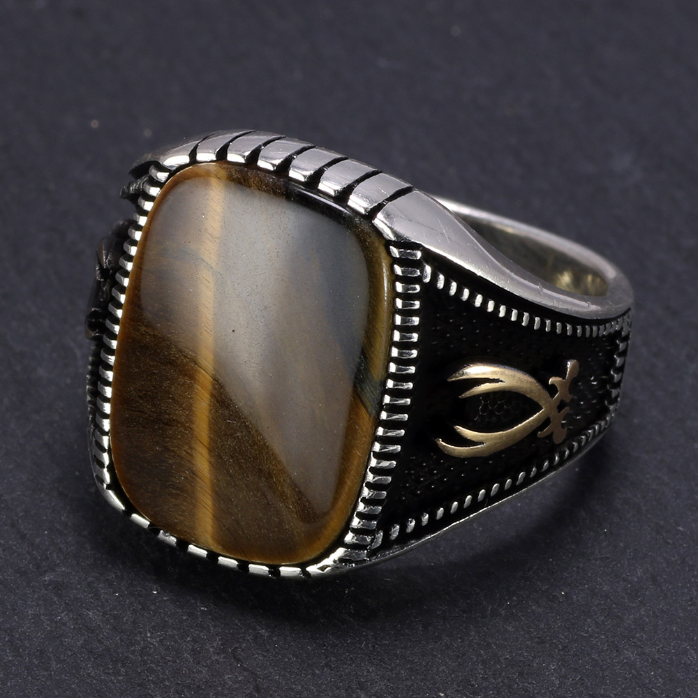 Real Pure 925 Sterling Silver Signet Rings Antique Turkish Rings For Mens With Stone Tiger Eyes Onyx Coloful Punk Rock Jewelry