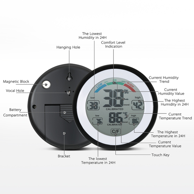 TS-S93 Round LCD Touchscreen Electronic Temperature Humidity Monitor Digital Thermometer Hygrometer Weather Station Alarm Clock