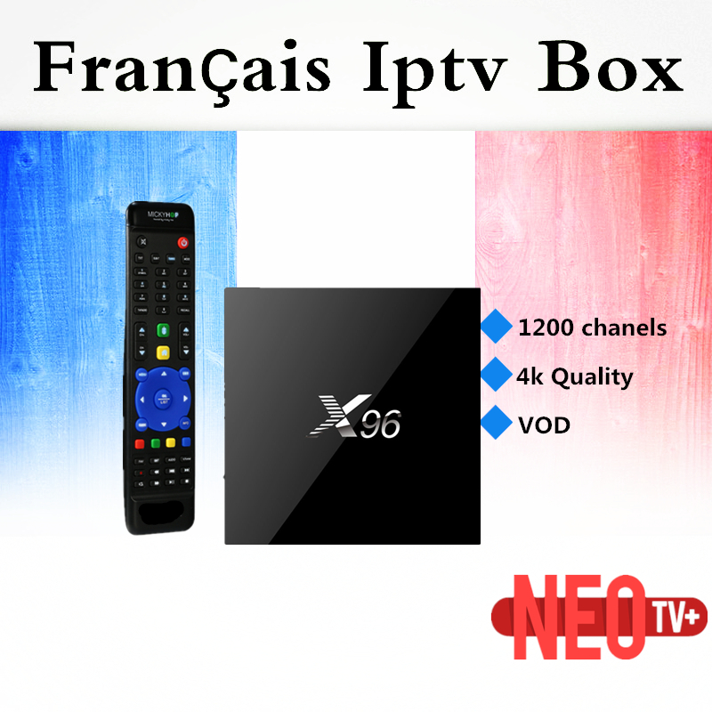 French IPTV Box X96 1G 8G Amlogic S905X Quad Core Android 6.0 TV Box Wifi HDMI 2.0A 4K*2K Marshmallow Set top box new x95 tv box amlogic s905 quad core android 5 1 1 wifi bluetooth 4 0 1g 8g set top box mini i8 remote controller keyboard