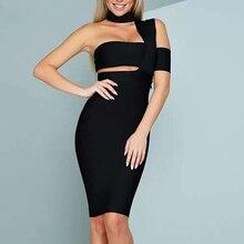 2019 New Drop Shipping Elegant Choker Top Design Inspired Tube Midi Length HL Party Celebrity Bandage Dress Bodycon Vestidos