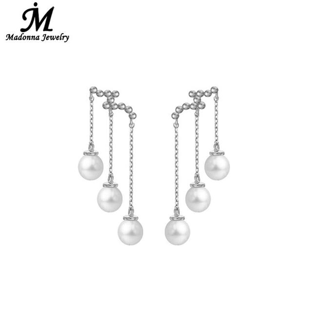 New 2017 Fashion Stud Earrings Wave Shape Long Three Simulation Pearl High Quality Silver Plated