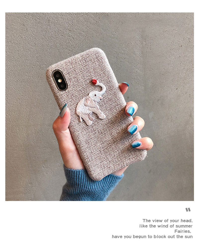 Cute Embroidered Elephant Phone Case For iPhone - Photo 6