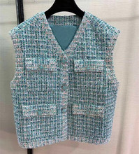 Spring autumn womens High quality sleeveless tweed jackets Brand new design pockets coat A259