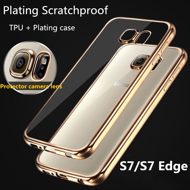 separation shoes 4a145 9c49d Luxury Plating TPU Soft Case For Samsung Galaxy S7/S7 Edge Ultra Thin Clear  Transparent back Cover for galaxy G9300 G9350-in Fitted Cases from ...