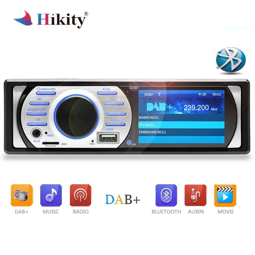 Hikity 1 din Car Radio DAB Audio FM Recorder Bluetooth MP3 Stereo Player 2.5 Autoradio Digital Receiver Build-in Mic Hands-free 10pcs retekess v115 fm am sw shortwave radio receiver with mp3 player rec voice recorder sleep timer