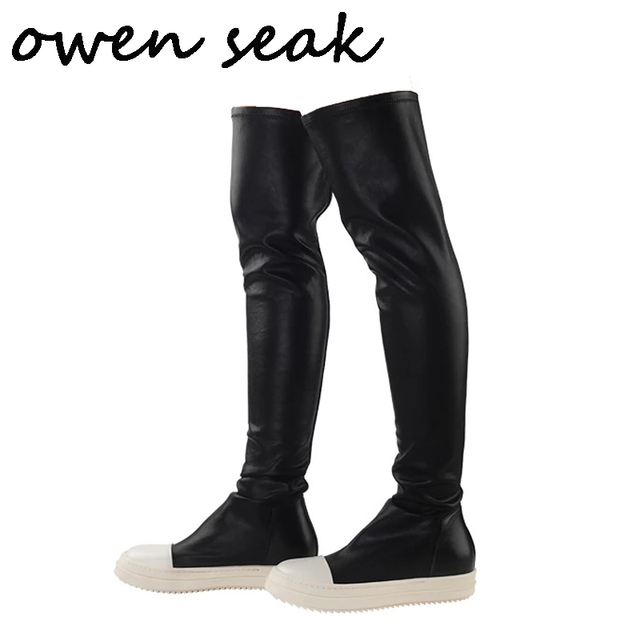 Owen Seak Women Shoes Over Knee High Boots Luxury Trainers Sheepskin Winter  Snow Boots Casual Snow Flats Black Big Size Boots a58275c640