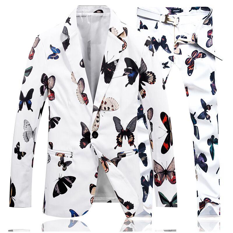 2019 ใหม่สีขาว 2 ชิ้นชุด Asia ขนาด S 4XL ชายชุดเสื้อ + กางเกงสีดำ Blazer กางเกงสามารถแยกจำหน่าย-ใน สูท จาก เสื้อผ้าผู้ชาย บน   1
