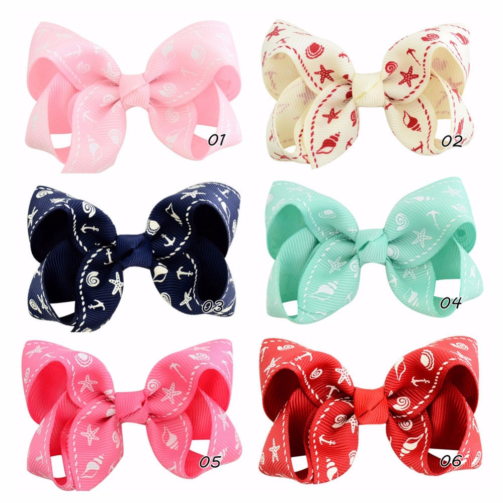 6pcslot 3 Inch Shell Conch Starfish Print Grosgrain Ribbon hair Bows With Clip Boutique Hairpins Hair Accessory 859
