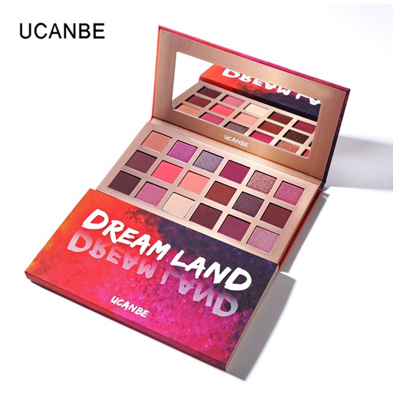 UCANBE Marca Eyeshadow Makeup Palette Shimmer Matte Dreamland 18 Cor Rosa Roxo Pigmento Olho Sombra Em Pó Cosméticos À Prova D' Água