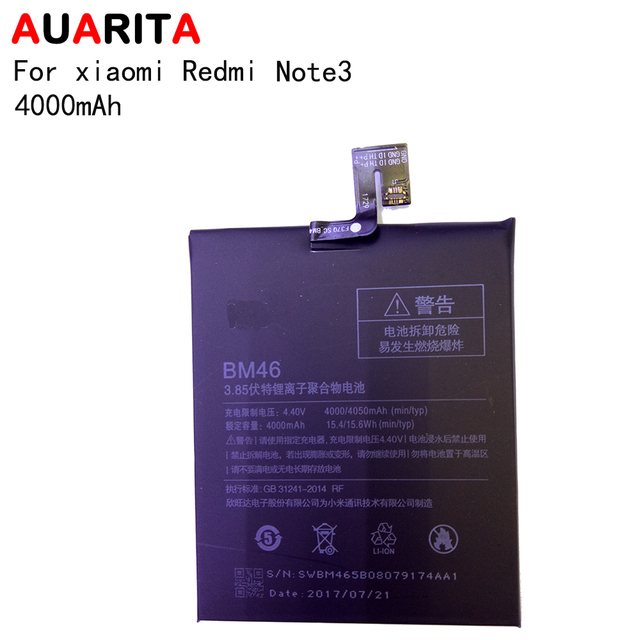 5pcs/lot phone battery For xiaomi Redmi note3 NOTE 3 Battery replacement BM46 SWBM465B08079174AA1 4000mAh 100% new with tools