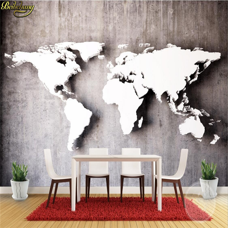 beibehang Custom vintage stereoscopic world map large mural 3D wallpaper for wall 3d wallpaper European-style living room sofa retro personality large world map mural wallpaper 3d painting living room bedroom wallpapers backdrop stereoscopic wall paper
