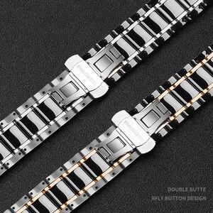 Image 4 - Bracelet watcn en céramique pour montre Apple 4 5 44mm 40mm Bracelet pour iwatch 3 2 38mm 42mm en céramique avec Bracelet en acier inoxydable Bracelet de montre