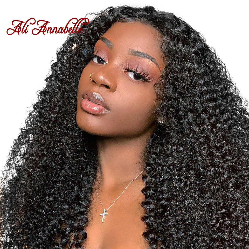 ALI ANNABELLE Indian Curly Hair Bundles 100% Curly Weave Human Hair 3/4 Pieces Natural Color Remy Kinky Curly Hair Extensions