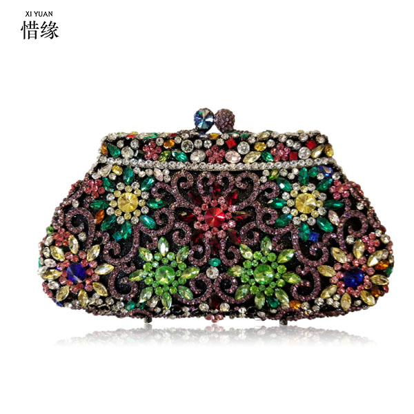 XIYUAN BRAND Womens Clutch bag Luxury Multicolor Diamond Evening Bag Designer Match Wedding Bridal Party Purse Handbags XIYUAN BRAND Womens Clutch bag Luxury Multicolor Diamond Evening Bag Designer Match Wedding Bridal Party Purse Handbags
