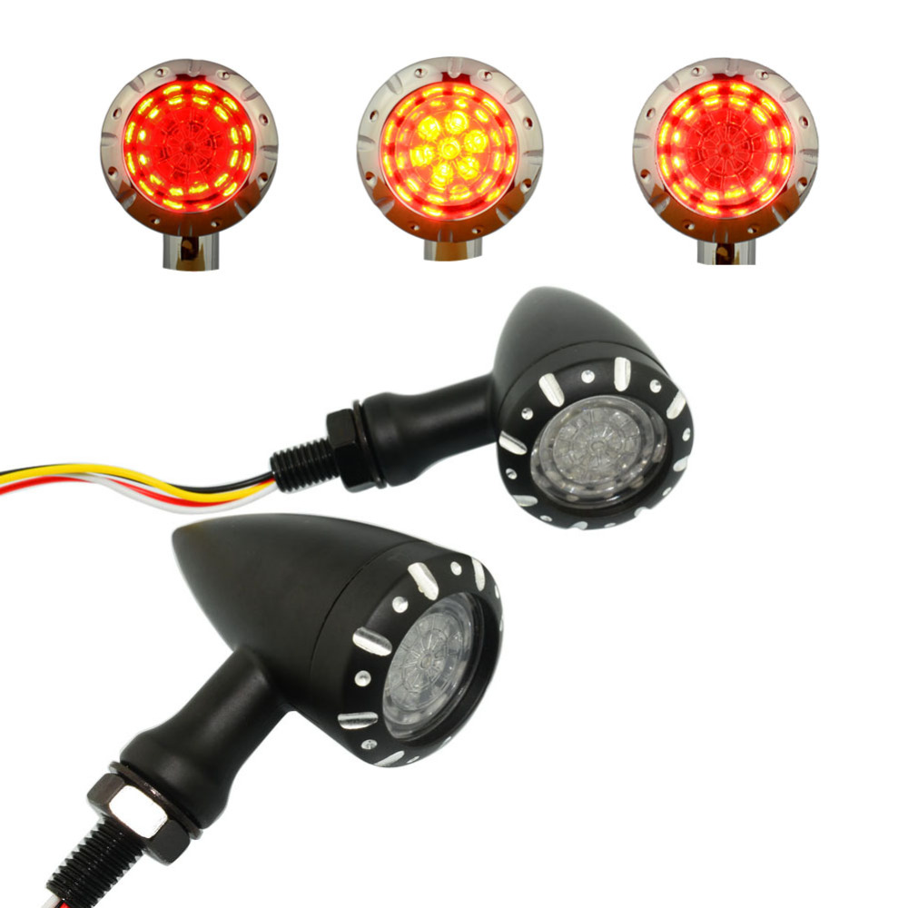 3 Functions Turn Signal Light Universal 4 Wire Black Clear