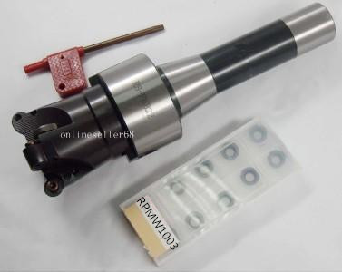 R8 FMB22 M12 arbor + EMR 5R 63-22-4T 4Flute face mill& 10pcs RPMT1003 inserts CNC milling free shiping emr 6r 63 22 4t face milling cutter head for rpmt w1204
