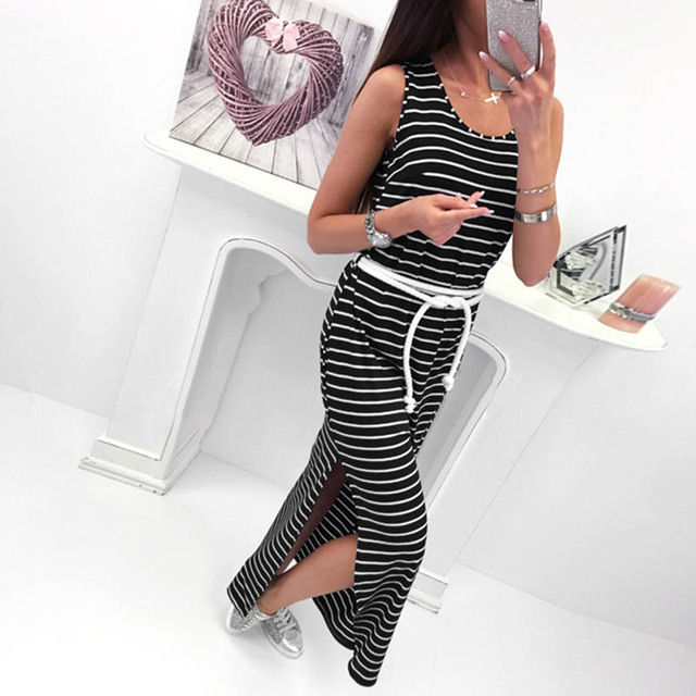 484ebae67be93 US $10.97 |Women O Neck Sleeveless Striped Bodycon Dress Side Split Long  Dress Ladies Summer Elegant Party Club Maxi Dress Elasticity Kni-in Dresses  ...