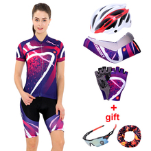 Купить с кэшбэком Women Cycling Clothing Set 2019 Summer Pro Team MTB Bike Clothes Ladies Cycling Jersey Sets Anti-UV Bicycle Helmet Cuffs Gloves