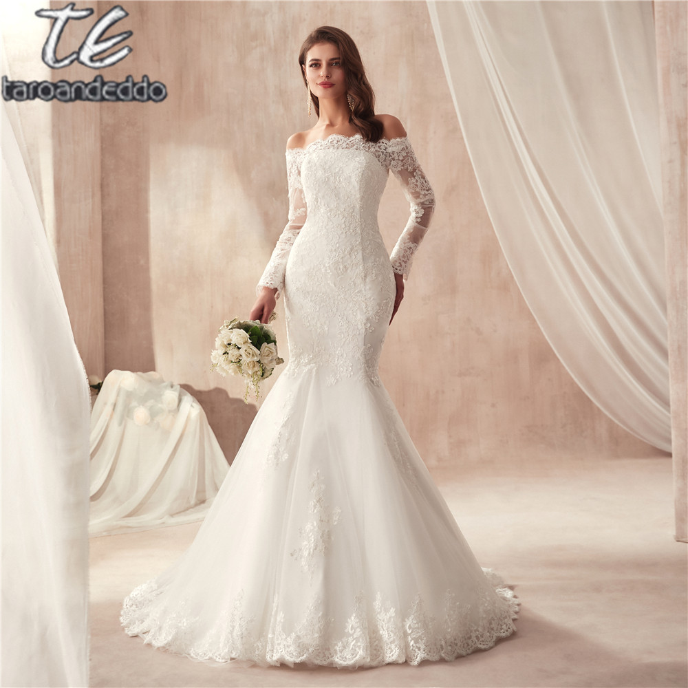 2019 Off The Shoulder Lace Mermaid Wedding Dresses Applique Long Sleeve Bridal Gowns Formal Wedding Gown Vestido De Noiva