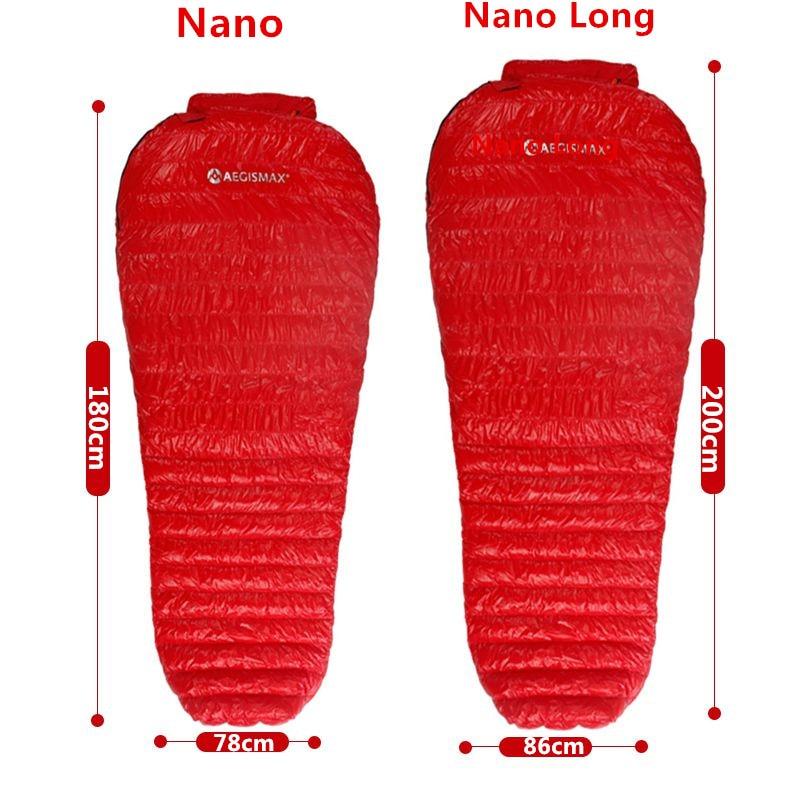 Aegismax nouveau Mini mise à niveau sac de couchage 95% duvet d'oie blanche épissure momie ultra-léger randonnée Camping 800 FP Nano Nano2 rouge bleu - 6