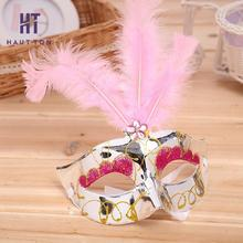 5pcs Beauty Party Mask Upper Half Face Halloween with Feather Fancy Dress