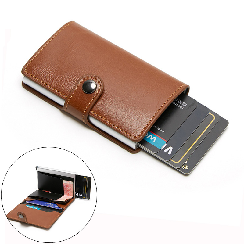 PU Leather Wallet For Men Aluminum Back Pocket ID Cards Holder RFID Blocking Mini Magic Wallet Automatic Credit Card Protection