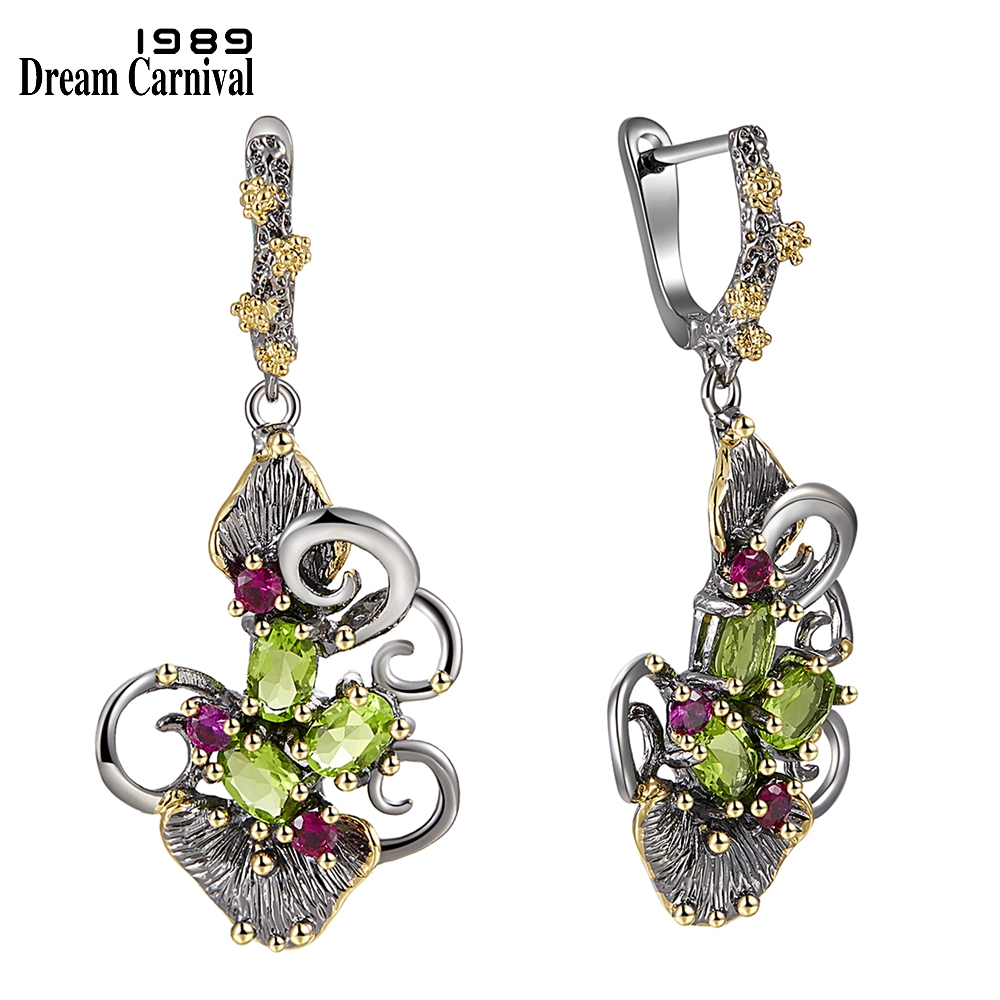 DreamCarnival 1989 Gorgeous Zirconia Flower Earrings for Women Vintage Ethnic Style Two Tone CZ Jewelry Hot Drop Shipping WE3873