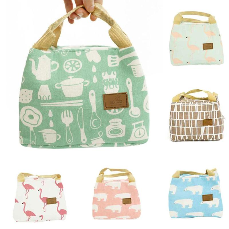 Flamingo Printing Lunch Bag Canvas Cooler Lunch Box Bag Tote Handbag Insulation Package Box Picnic Thermal Food Lunch Container