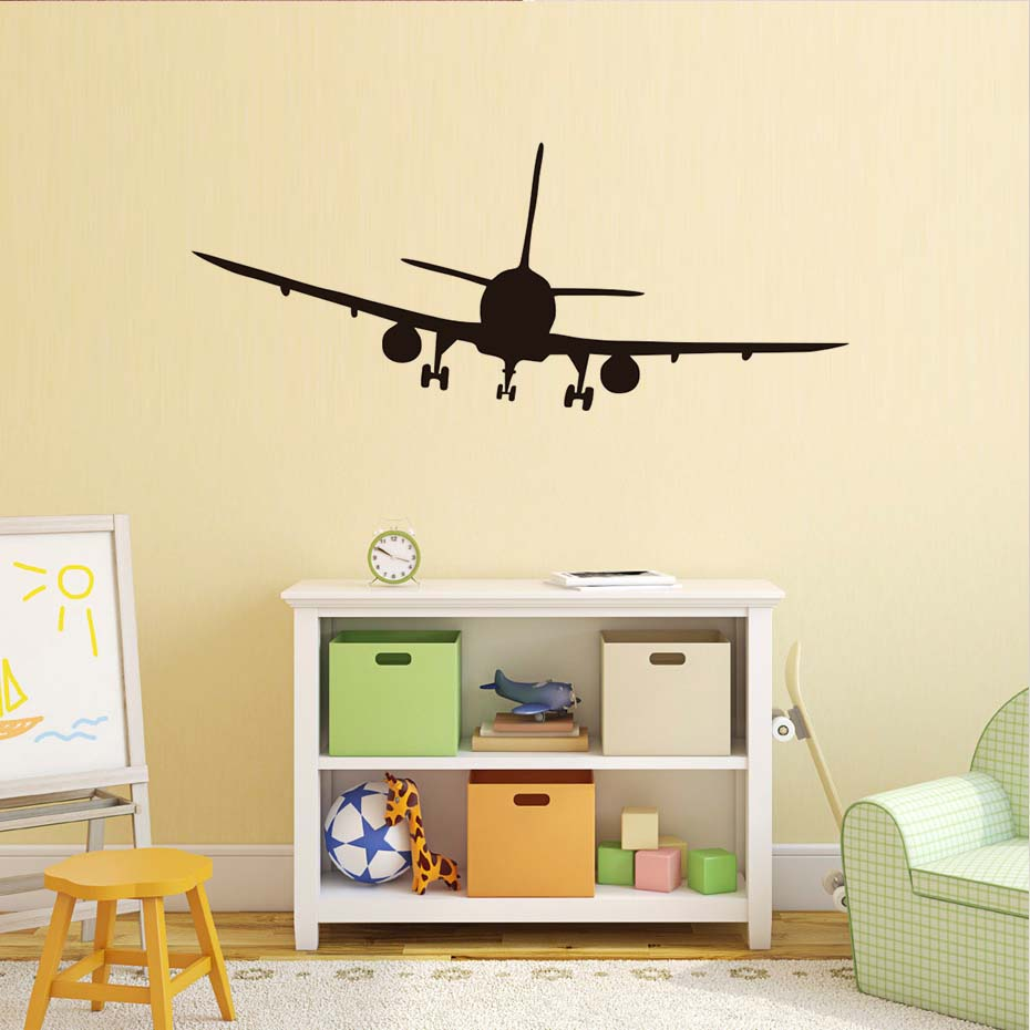 Commercial Airliner Wall Stickers Airplane Silhouette Wall Decals ...